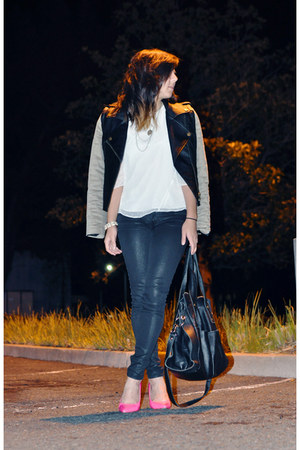 white Dolce Vita blouse - black coated jeans American Eagle jeans - Lush jacket