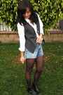 Gray-urban-outfitters-vest-white-banana-republic-shirt-blue-vintage-shorts-