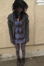 Purple-topshop-blouse-gray-target-sweater-brown-vintage-from-ebay-boots