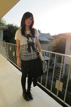 white Zara shirt - black Forever 21 shorts - black vintage boots