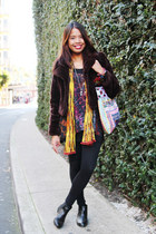 chelsea boots - faux fur coat - print scarf - ethnic bag