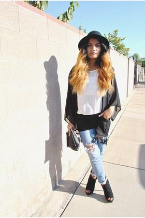 periwinkle ripped PacSun pants - black brim H&M hat