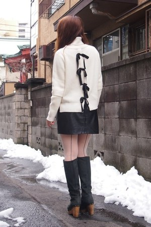 black feather coat Velnica coat - black nadesico boots - white SACRA sweater