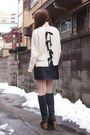 Black-nadesico-boots-black-feather-coat-velnica-coat-white-sacra-sweater