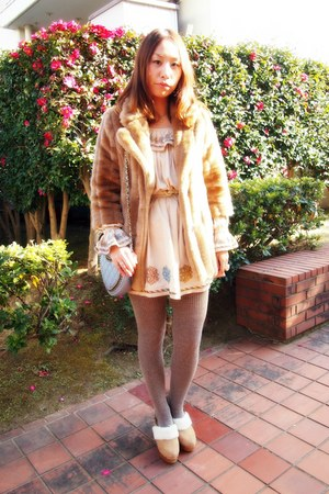 camel fur coat lilly brown coat - beige nadesico dress
