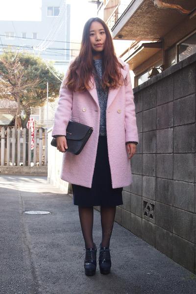 navy my mums clutch vintage bag - light pink Kaon coat