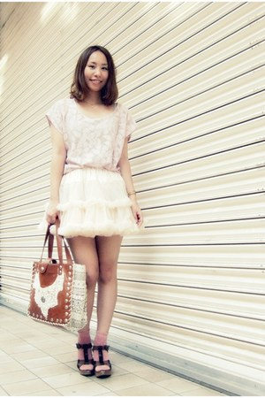 pink pink lace top Forever21 blouse - tawny leather bag nadesico bag