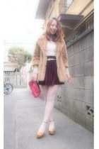 bronze fur coat lily brown coat - off white American Apparel dress