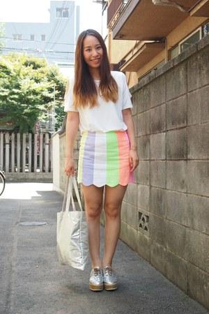 bubble gum LILLILLY skirt - white DHOLIC shirt - silver metallic tote DHOLIC bag