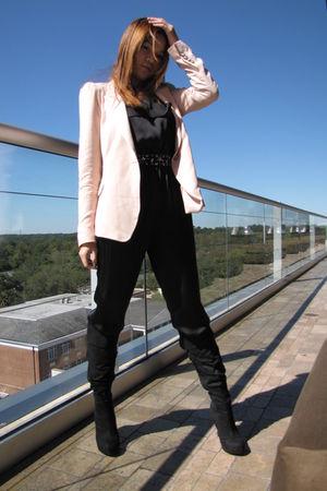 beige Zara blazer - black Forever 21 jumper - black boots