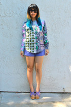 asos blouse - vintage shorts - Prada sunglasses - Michael Kors wedges