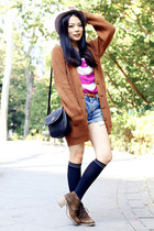 knitted Bershka cardigan - suede jipijapa boots - Ksubi jeans