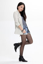 black vintage boots - sky blue Ksubi jeans - ivory Silence & Noise blazer - navy