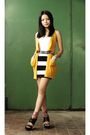 Yellow-bershka-cardigan-white-h-m-skirt-black-carolinna-espinosa-shoes