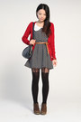 Red-bershka-cardigan-black-unknown-brand-dress-black-topshop-tights-dark-b