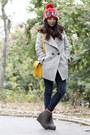 Heather-gray-boutique-coat-navy-uniqlo-jeans-red-vintage-hat-dark-brown-bo