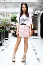 White-something-else-t-shirt-pink-unknown-brand-skirt-beige-topshop-socks-