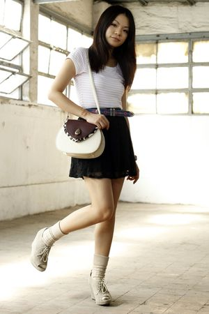 white H&amp;M t-shirt - black asos skirt - beige unknown shoes - beige Topshop socks