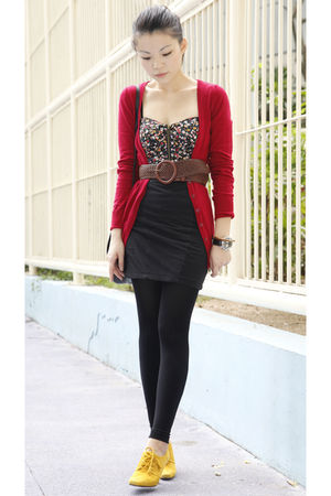 red Bershka cardigan - black Kimchi Blue top - black cotton on skirt - brown AT