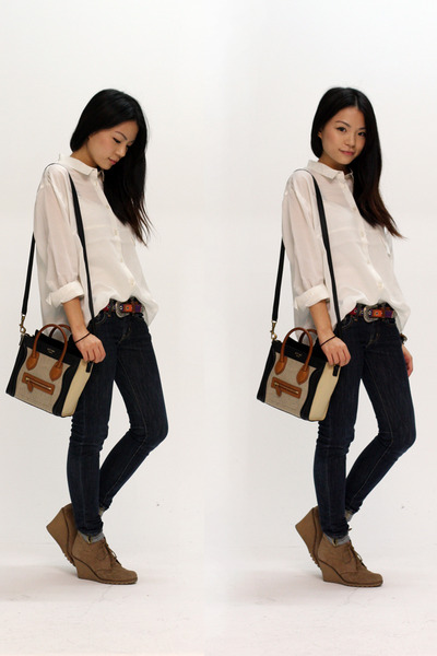 eggshell Monki shirt - beige Celine bag - navy Uniqlo jeans - brown asos shoes -