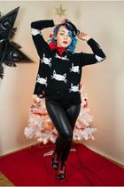 Sheinside sweater - iron fist boots - lip service leggings - H&M accessories