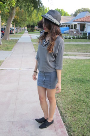 suede oxfords Forever 21 shoes - fitted denim H&M dress - straw fedora H&M hat -