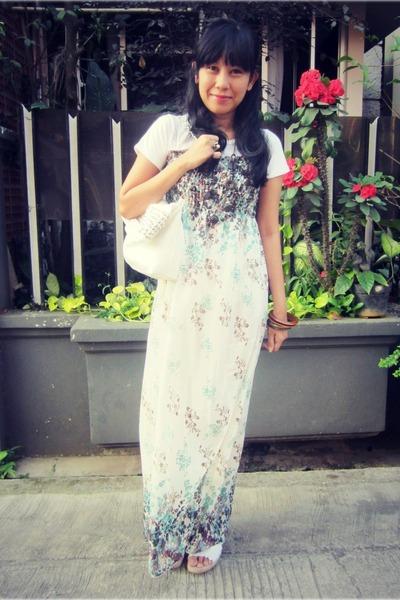 teal floral maxi korean brand dress - white studded OASAP bag