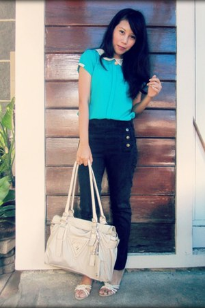 turquoise blue top - black Zara jeans - ivory Guess bag
