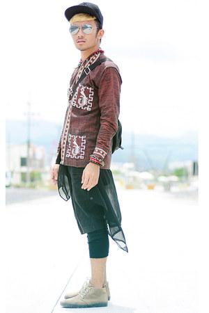 black cotton-knit Terranova leggings - dark khaki suede Ren Ben boots