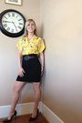 Yellow-thrifted-vintage-blouse-black-body-central-skirt