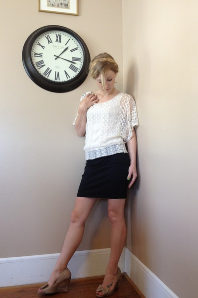 eggshell lace top - black Forever 21 skirt - camel bow Wet Seal wedges