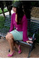 green fedora hat - hot pink Architect sweater - olive green skirt