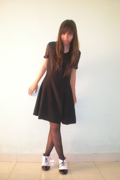 black dress - black tights - white galdy shoes