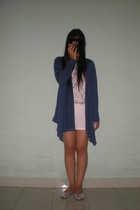 white t-shirt - blue Magnolia by Orange cardigan - silver cotton on shoes - blac