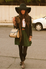 Black-zara-hat-green-h-m-skirt-brown-bsk-boots