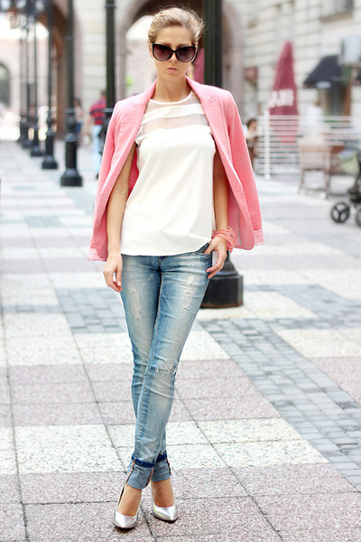 salmon blazer - sky blue jeans - black sunglasses - white Sheinside blouse