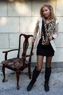 Black-boots-black-dress-neutral-blazer-camel-scarf