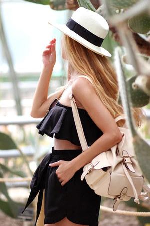 black shorts - ivory hat - eggshell backpack Choies bag - beige sandals