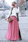 Black-boots-white-sweater-bronze-bag-salmon-skirt-light-brown-vest