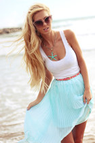 light blue dinodirect skirt - white top - salmon belt