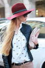Black-jacket-tan-bershka-jeans-crimson-hat-white-choies-shirt-beige-bag