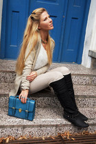 teal asoscom bag - black boots - cream jeans - white sweater - beige cardigan