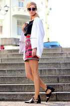 red skirt - black shoes - white WOAKAO blazer