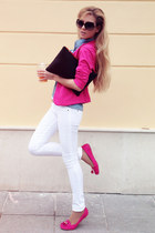 hot pink blazer - white jeans - sky blue shirt - black bag - hot pink loafers