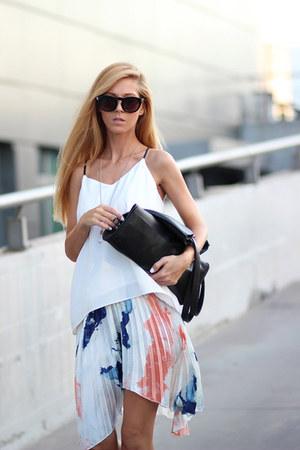 navy dip dye skirt Choies skirt - black bag - white Choies blouse