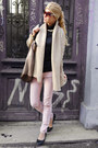Tan-bag-black-flats-light-pink-pants-tan-cardigan-black-blouse