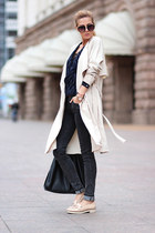 black bag - neutral shoes - beige trenchcoat coat - dark gray jeans