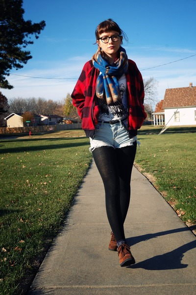 blue tribal Forever21 scarf - brown thrifted boots - red vintage jacket