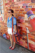blue albee shirt - white shorts - beige belt - red Sway shoes - red sunglasses -