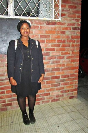 black boots - black dress - navy vintage blazer